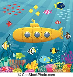 Submarine Background - Cartoon yellow submarine underwater.