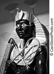 Egyptian Statue in Black and White - An egyptian statue in...