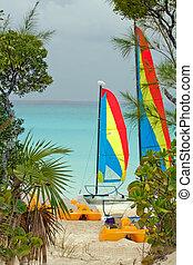 Catamaran sailboat on a beach