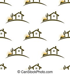 Desert home seamless pattern background Vector graphic...