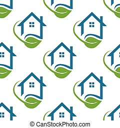 House green life seamless pattern background.Vector graphic illustration