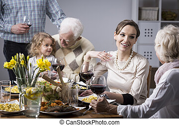 Family conversations at the table - Happy people during...