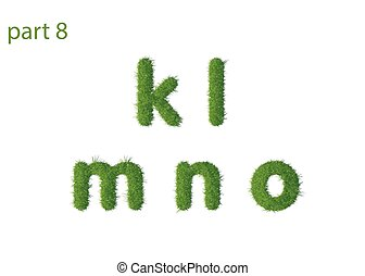 Small letter k l m n o texture green grass vector...