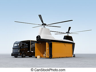 Cargo drone and hybrid truck on the ground. 3D rendering...