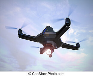 Stealth drone flying in the sunset sky. 3D rendering image