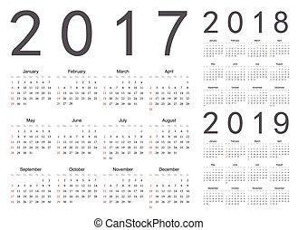 Set of european 2017, 2018, 2019 year vector calendars. Week...
