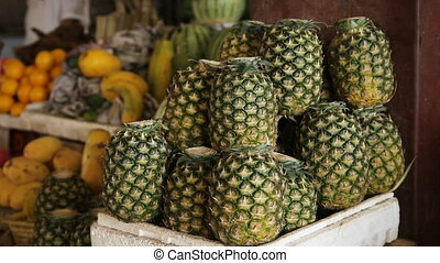 Fresh pineapples in market - Fresh pineapples at philippines...
