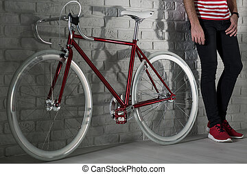This is very trendy, red fixie bike - Close up of a red...