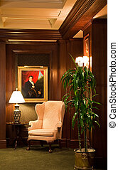 Wing Chair in a Nicely Decorated Corner of a Lobby