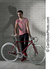Happy hipster boy and his bike - Young man smiling and red...