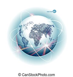 Globe with design of ways - Internet, communication, mobile communication, sputnik road, air way. Planet Earth with continents and sea and world Ocean, atmosphere. Space cosmos view