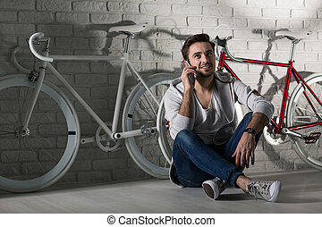 We can gor for a bike ride together... - Man sitting on...
