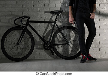 We've got style: me and my bike - Man standing next to black...