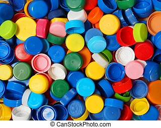 Screw caps - Waste plastic bottle caps ready for recycling