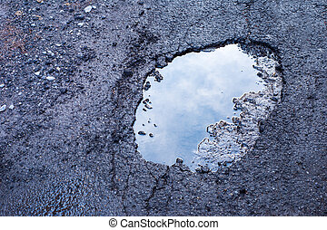Pothole - Large deep pothole in Montreal street