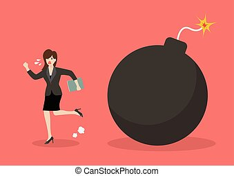 Business woman run away from bomb. Business finance concept