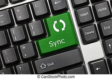 Conceptual keyboard - Sync green key - Close-up view on...