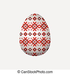Ornament Easter egg - Square seamless pattern with red and...