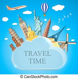 travel and vacations concept - Trip to World Travel to World...