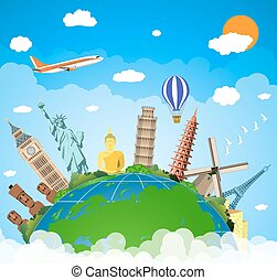 The concept of travel. - famous monuments of the world. Trip...