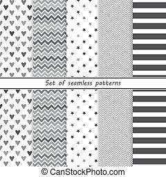 set of simple monochrome seamless p
