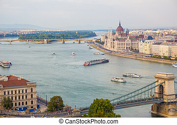 Budapest city view at the Hungarian Parliament and Margaret...