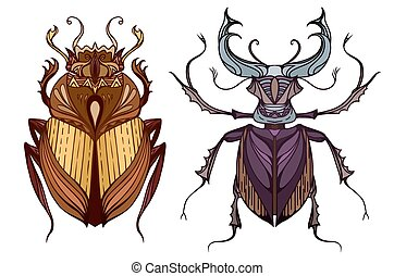 Insect set in color with a tribal pattern. Doodle scarab and...