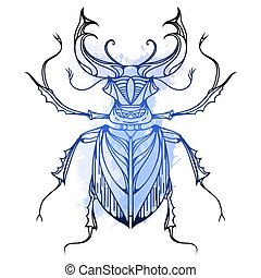 Hand drawn vintage stag beetle with blue watercolor splashes. Insect with doodle pattern. Vector element for tattoo sketch, printing on T-shirts, postcards and your design