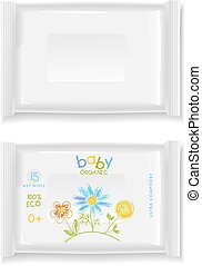 White polimer packages - Two white wet wipes package...