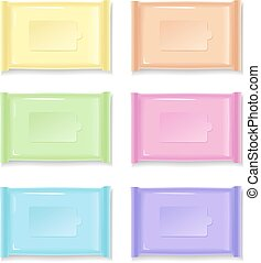 Colorful plastic packages on a white background