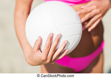 close up of woman with volleyball ball on beach - summer,...