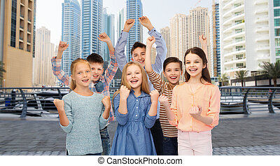 feliz, niños, Celebrar, victoria,