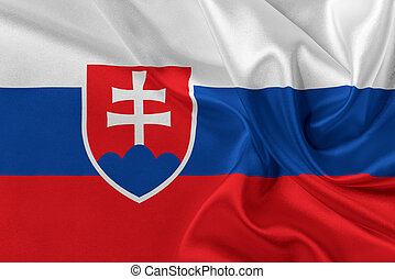 Flag of Slovakia - Flag of Slovakia waving in the wind