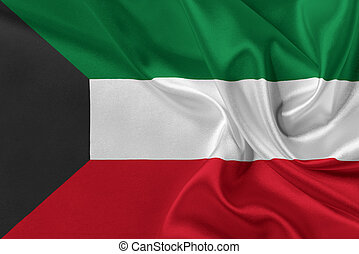 Flag of Kuwait waving in the wind