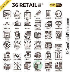 Retail Store pixel perfect outline icons modern style for...