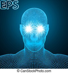 powerful energy beams at eyes of wireframe human head blue...