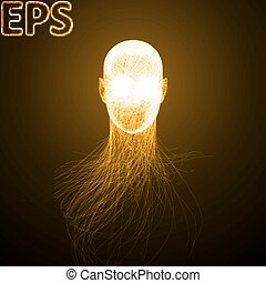 powerful energy beams at eyes golden colored version -...