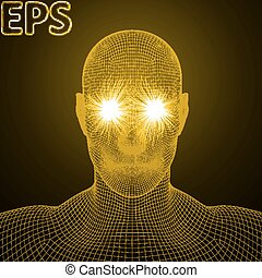 powerful energy beams at eyes of wireframe human head golden...