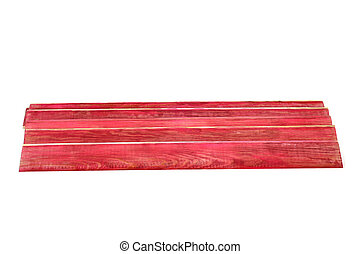 red wooden planks - some red wooden planks on a white...