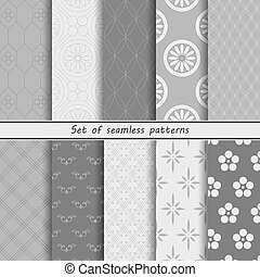 Set of monochrome seamless patterns