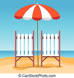 Summer Beach Vacation Sunbed With Umbrella Sand Tropical...