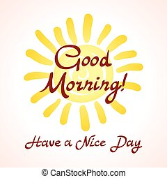 The winking sun. Have a nice day vector card