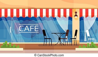 Cafe Street Coffee Shop Chairs Table Vector Illustration