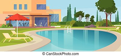 Swimming Pool Big Modern Villa Hotel House Exterior Flat...