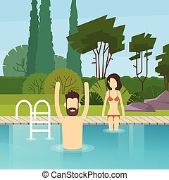 Couple In Swimming Pool Leisure Activity Flat Design Vector...