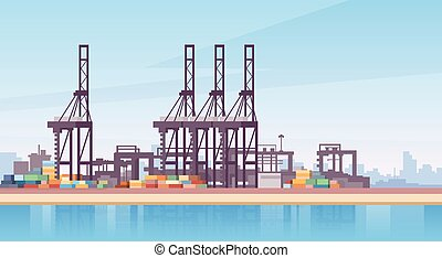 Industrial Sea Port Cargo Logistics Container Ship Crane...