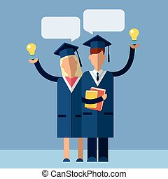 Student Couple Graduation Gown Woman Man Hold Light Bulb With Chat Box Flat