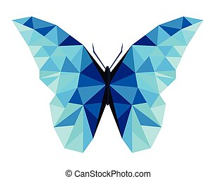 Abstract polygonal butterfly low poly vector illustration.