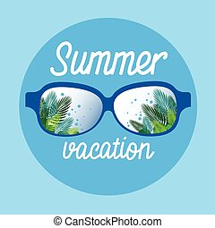 Eye Glasses With Summer Sea Island Seaside Vacation Flat...