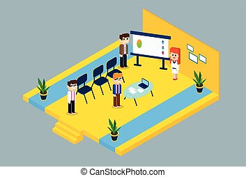Business People Group Conference Meeting 3d Isometric Design